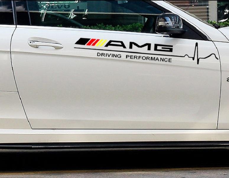 Bộ 2 Tem decal dán cửa xe ô tô phong cách AMG