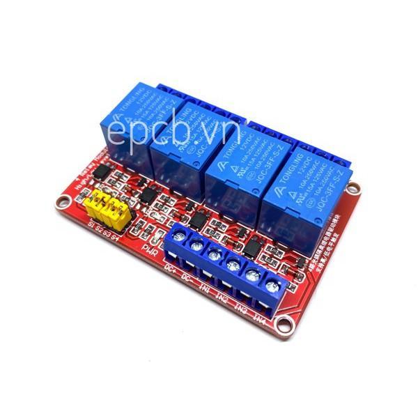 Mạch 4 Relay Opto Chọn Mức Kích High/Low 12VDC
