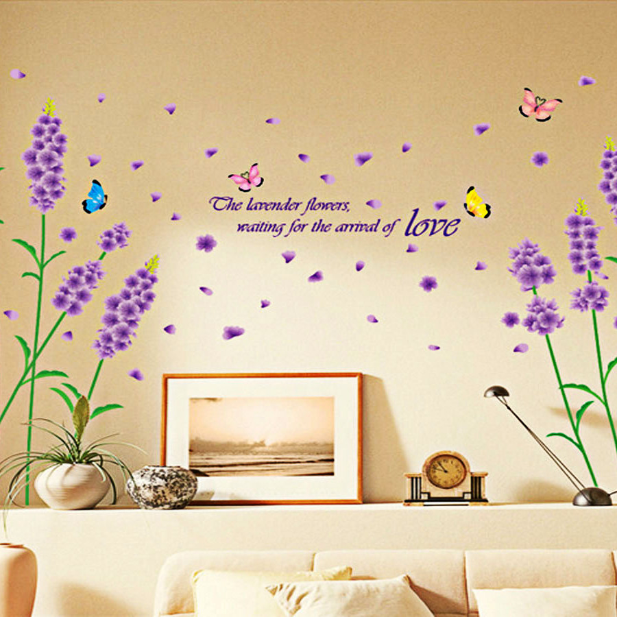 decal dán tường hoa oải hương nhỉ am7002