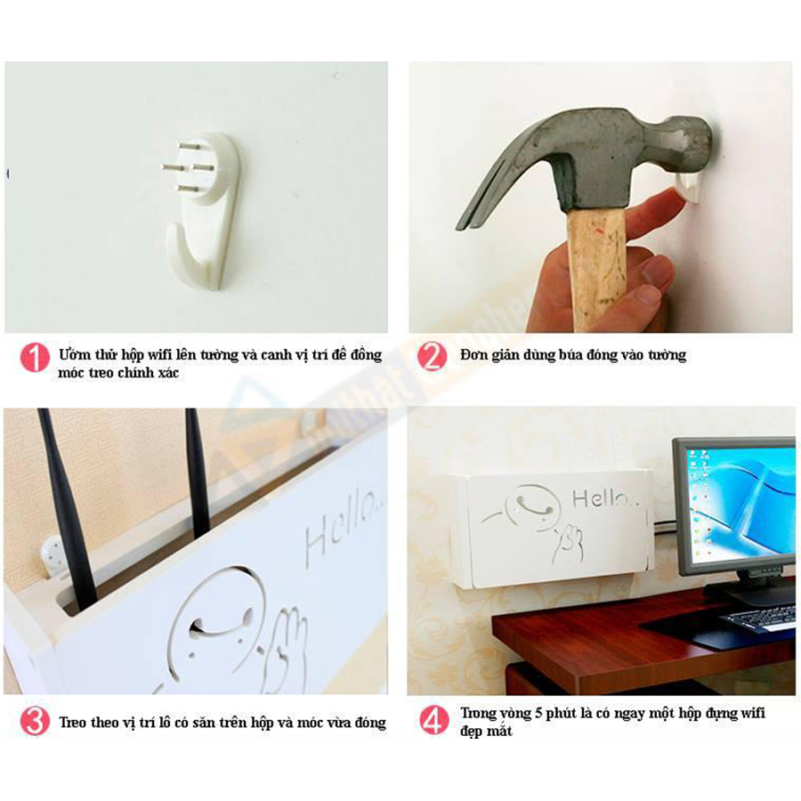 Kệ wifi mini Lá may mắn treo tường không khoan tặng kèm móc treo cường lực