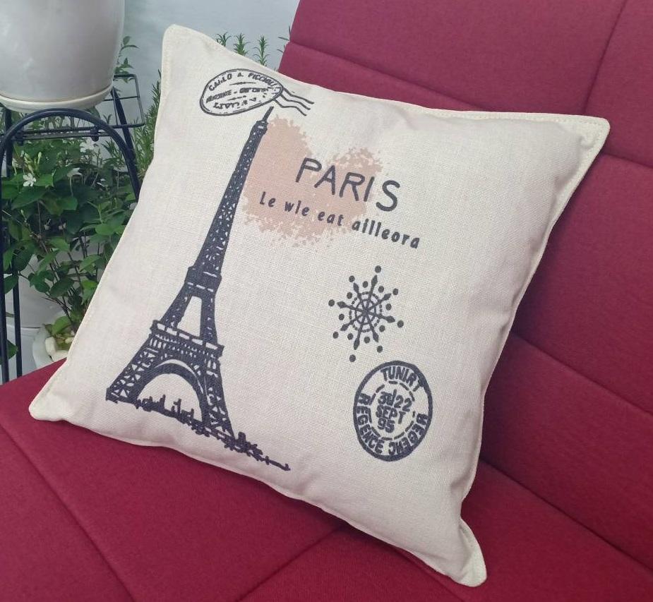 Gối tựa trang trí sofa BNS (45x45cm) Hình Tháp Paris