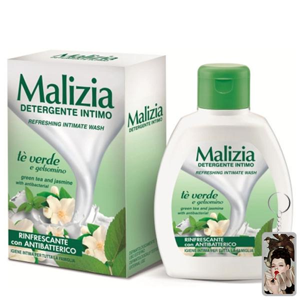 Dung dịch vệ sinh trà xanh và hoa nhài Malizia Refreshing Intimate Wash 200ml tặng kèm móc khóa