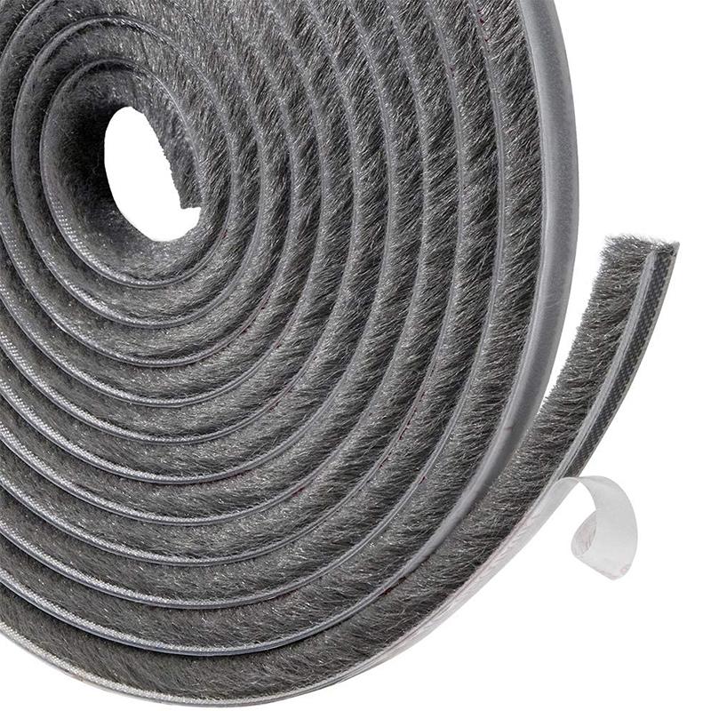 Ron lông nheo, gioăng sợi lông DOORSEAL dán khe hở khung cửa ngăn bụi côn trùng, gió lùa (cuộn 4m)