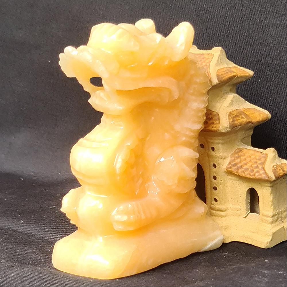 Tượng Phong Thuỷ Tuổi Thìn- Rồng 12 Con Giáp Đá Ngọc Hoàng Long - 8cm - Mx - Hợp Mệnh Thổ, Kim