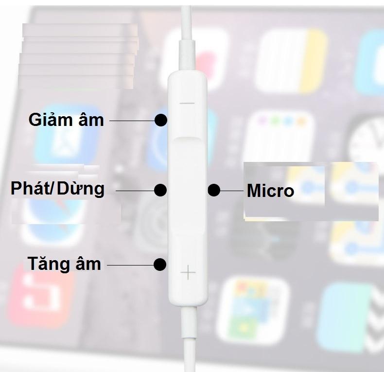 Tai nghe nhét tai 1m cx dùng cho điện thoại iPhone 7 8 - Hàng Chính Hãng
