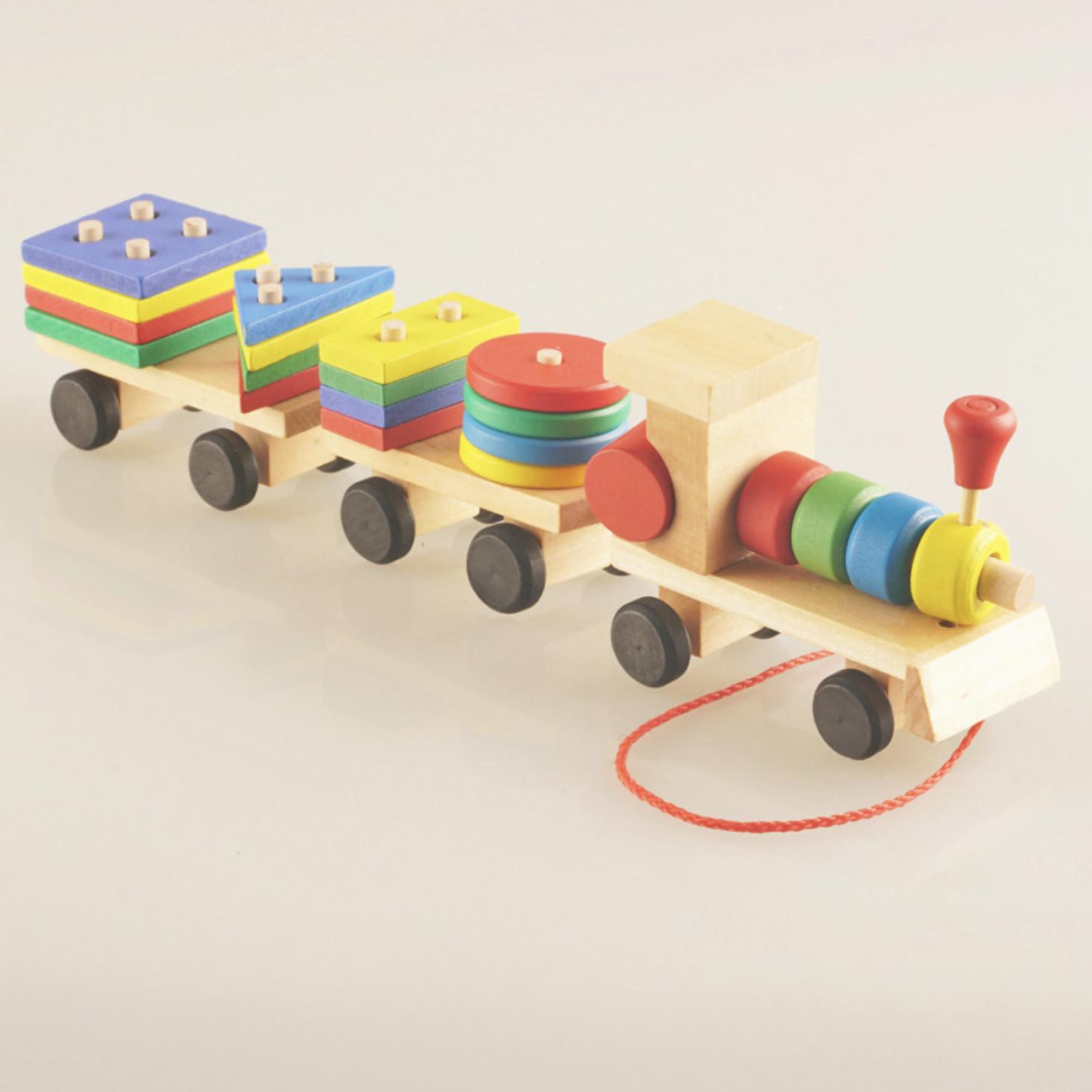 Bộ đồ chơi xếp hình đoàn tàu gỗ độc đáo giúp phát triển tư duy cho trẻ