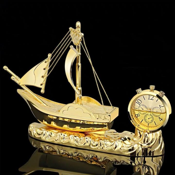 Thuyền buồm thuận buồm xuôi gió tích hợp đồng hồ, nước hoa trang trí taplo ô tô, trang trí nhà cửa, bàn làm việc