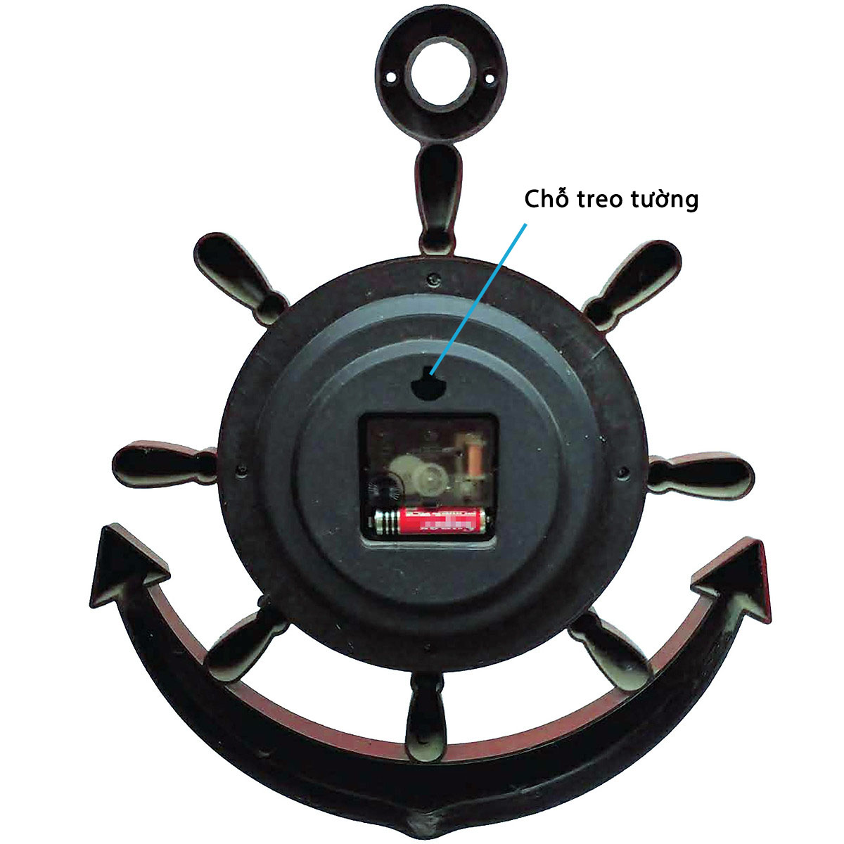 (Loại Tốt) Đồng Hồ Treo Tường Mỏ Neo KhoNCC Giả Gỗ Sang Trọng Nổi Bật Căn Nhà Bạn - Mới 100% (Màu Nâu Gỗ) - KQL-DHMN-F2 – Hàng Chính Hãng