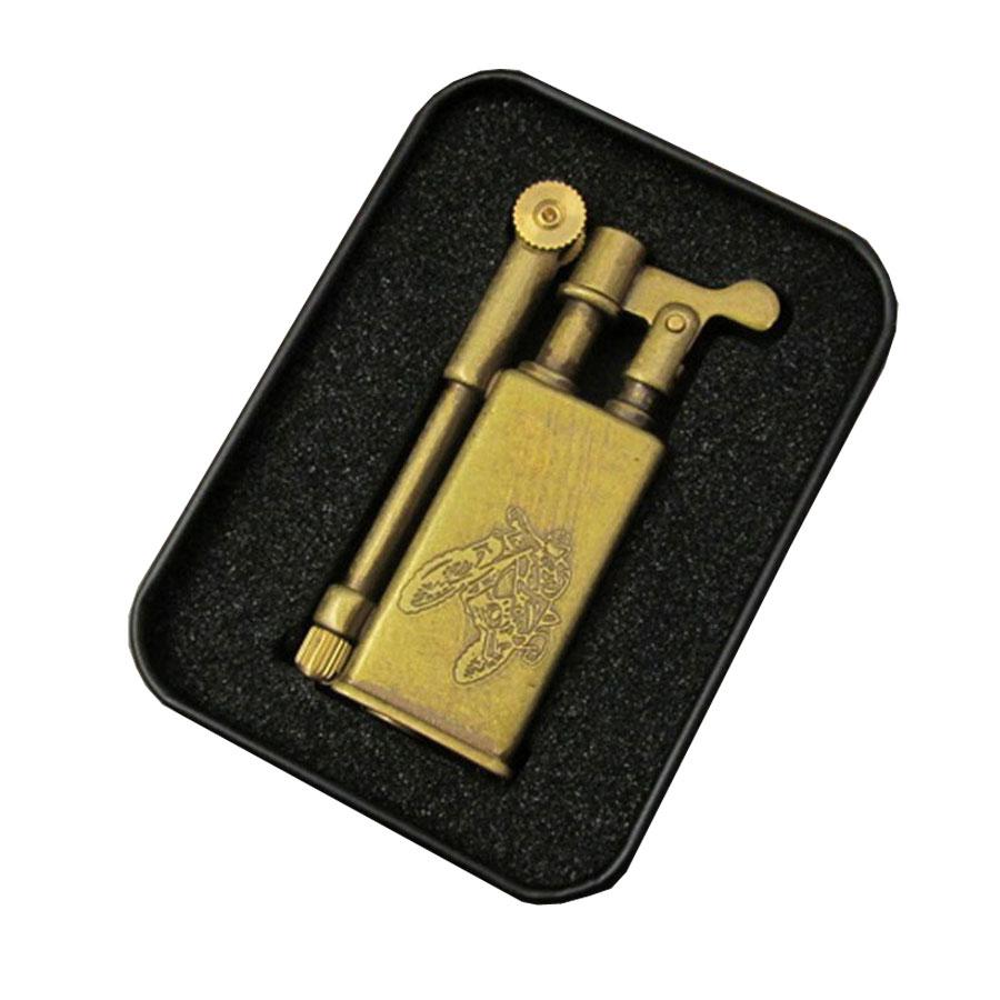 Combo Bật Lửa Xăng Đá Kiểu Cổ, Bằng Đồng Nguyên Chất JF-005B-1  + Tặng Bình Xăng Chuyên Dụng Cho Bật Lửa (Màu Ngẫu Nhiên)