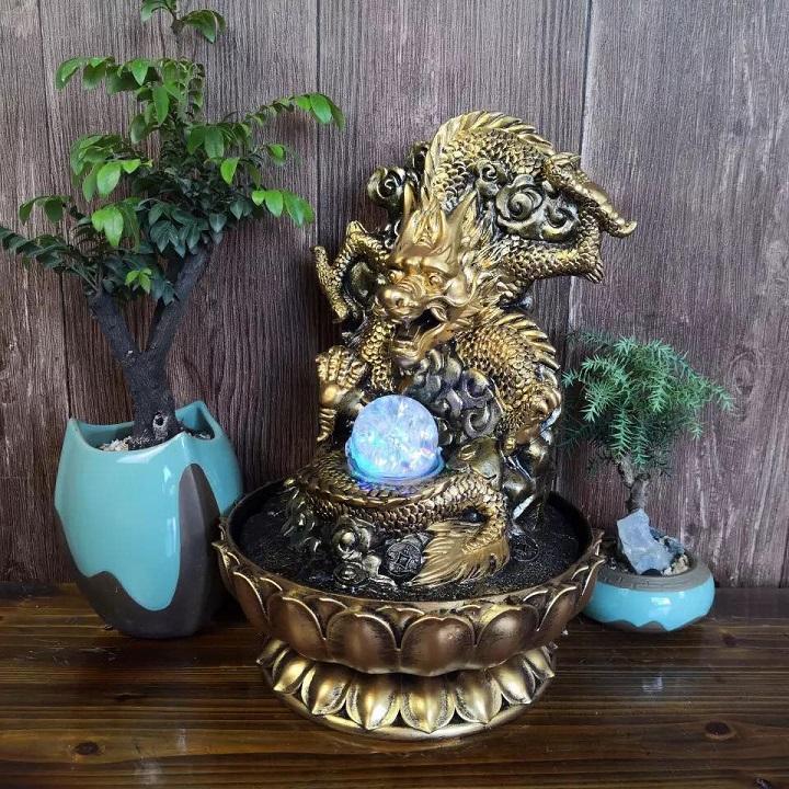 Thác nước phong thủy để bàn phi long phun châu thác nước rồng vàng nhả ngọc mẫu lớn