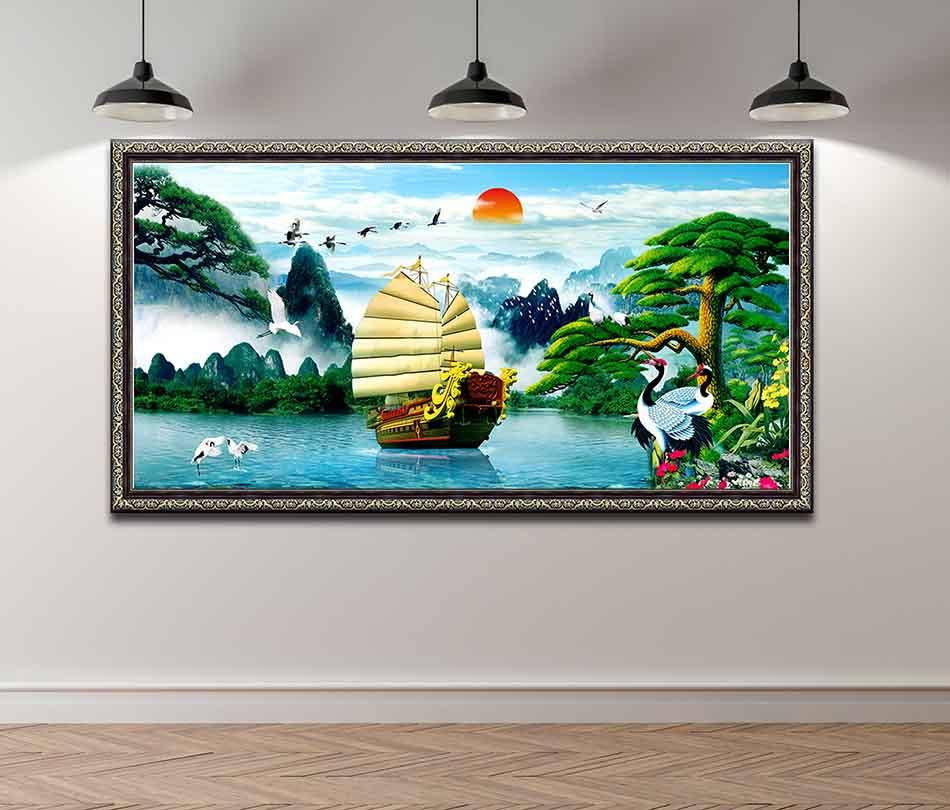 Tranh canvas phong thủy treo tường - Thuận buồm xuôi gió - khung hoa văn sang trọng - TBXG002 - 120x60cm