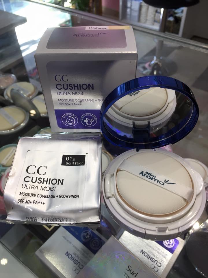 Phấn nước che phủ nhẹ nhàng Mira Cushion Air CC Cream 15g (Kèm thêm lõi)  No.1 Tone sángTặng kèm móc khoá