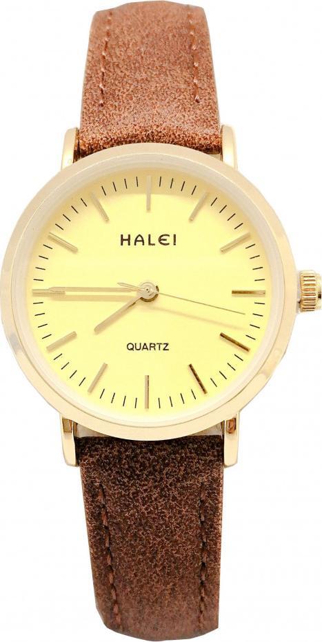 Đồng hồ Nữ Halei - HL541 Dây da nâu - Vàng