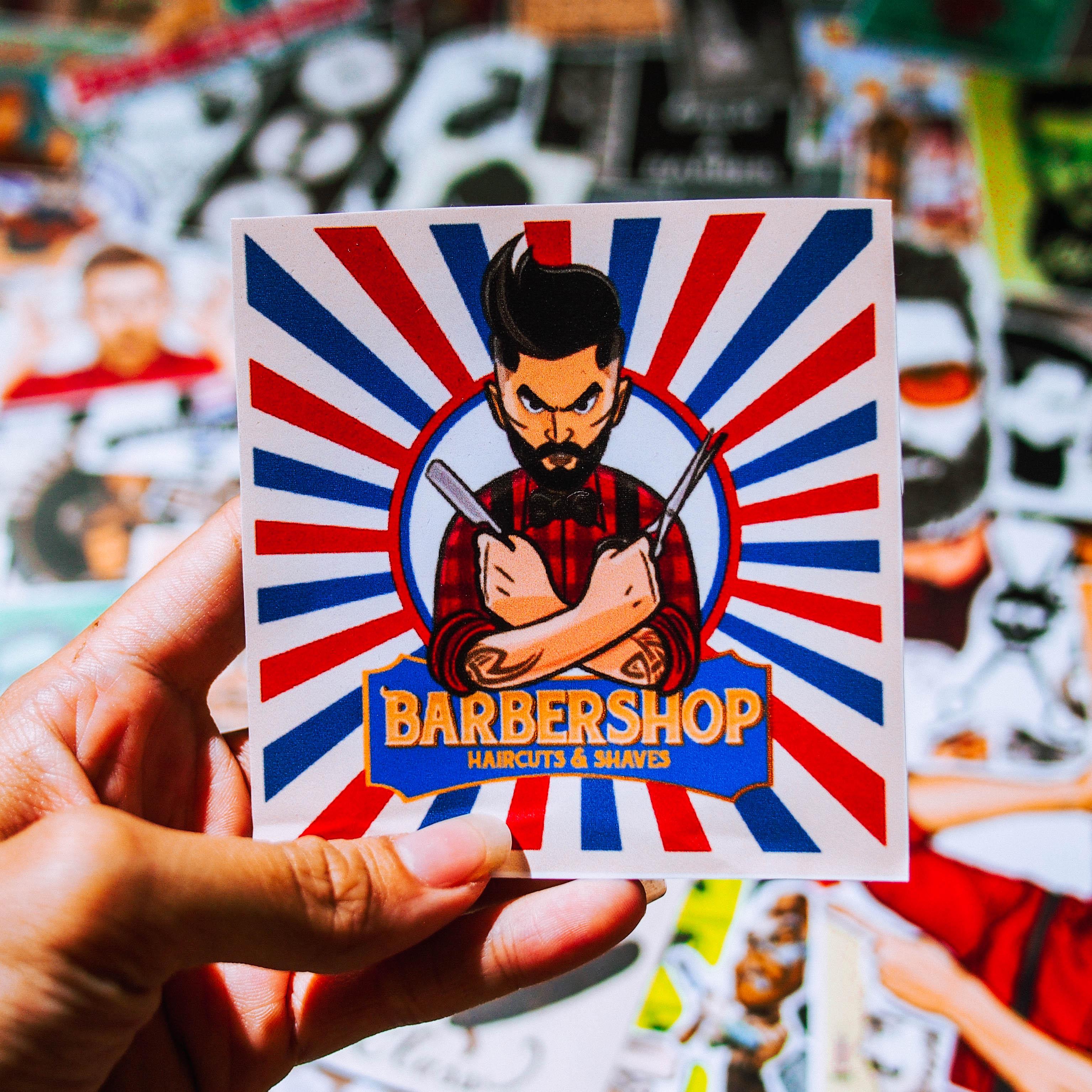Set 100 sticker hình dán laptop mũ bảo hiểm xe máy xe hơi chủ đề Barber