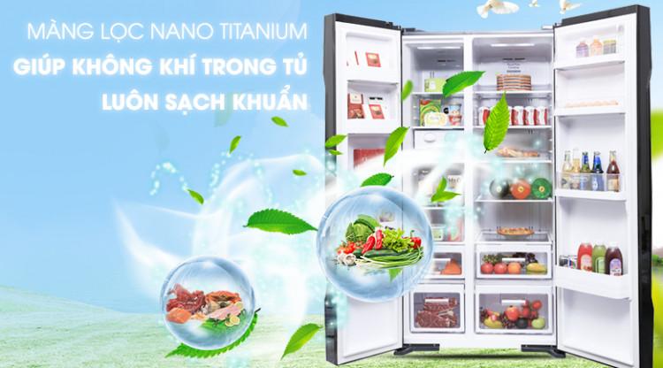 Kháng khuẩn, khử mùi với màng lọc Nano Titanium - Tủ lạnh Hitachi Inverter 605 lít R-S700PGV2 GBK