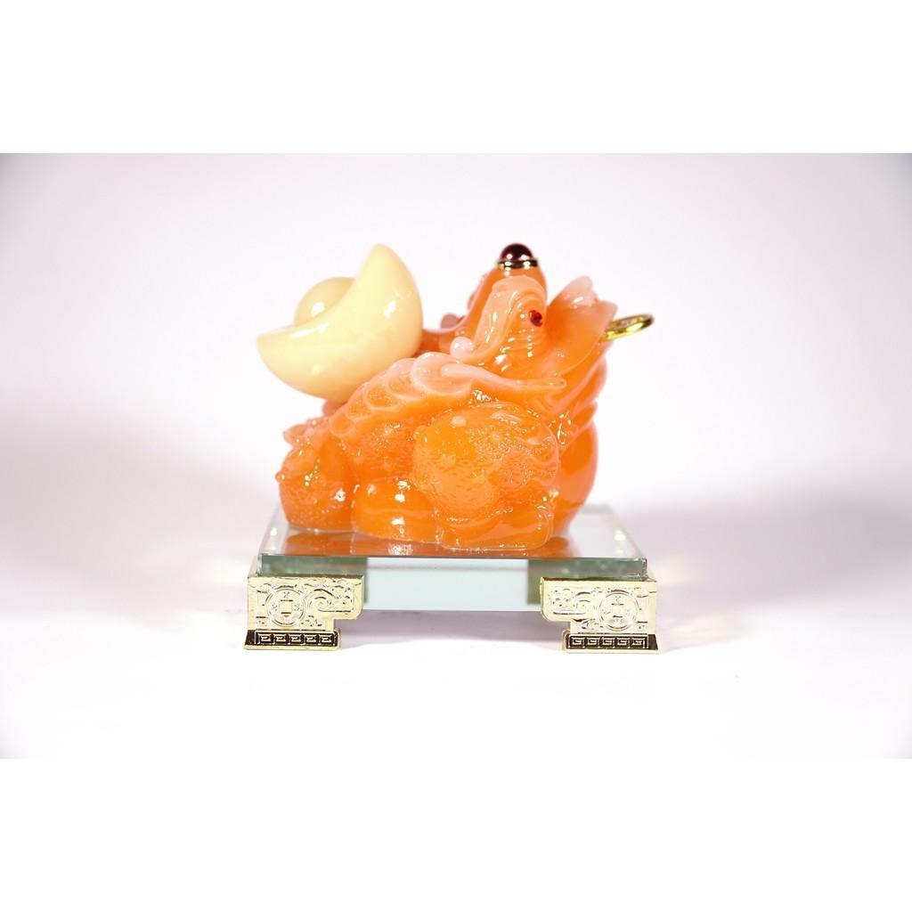 Tượng Cóc Thiềm Thừ đế kính ngọc đỏ cõng vàng chiêu tài - Cao 12cm