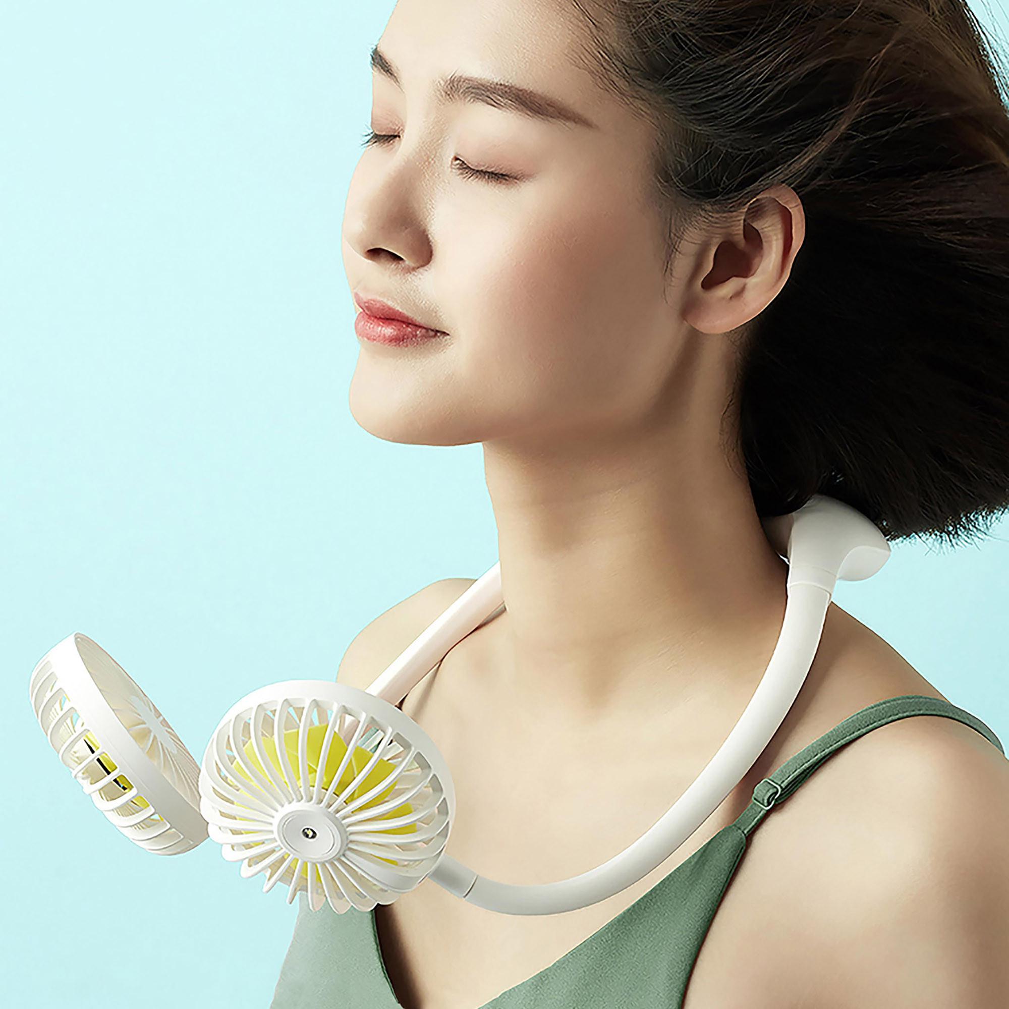 Quạt mini đeo cổ Jisulife FA11_Tích hợp đèn chiếu sáng, hoạt động yên tĩnh, biên độ thổi rộng, sư dụng lâu - Hàng chính hãng