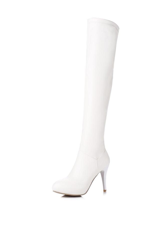 Boot nữ da màu trắng ngang đùi GCC10602