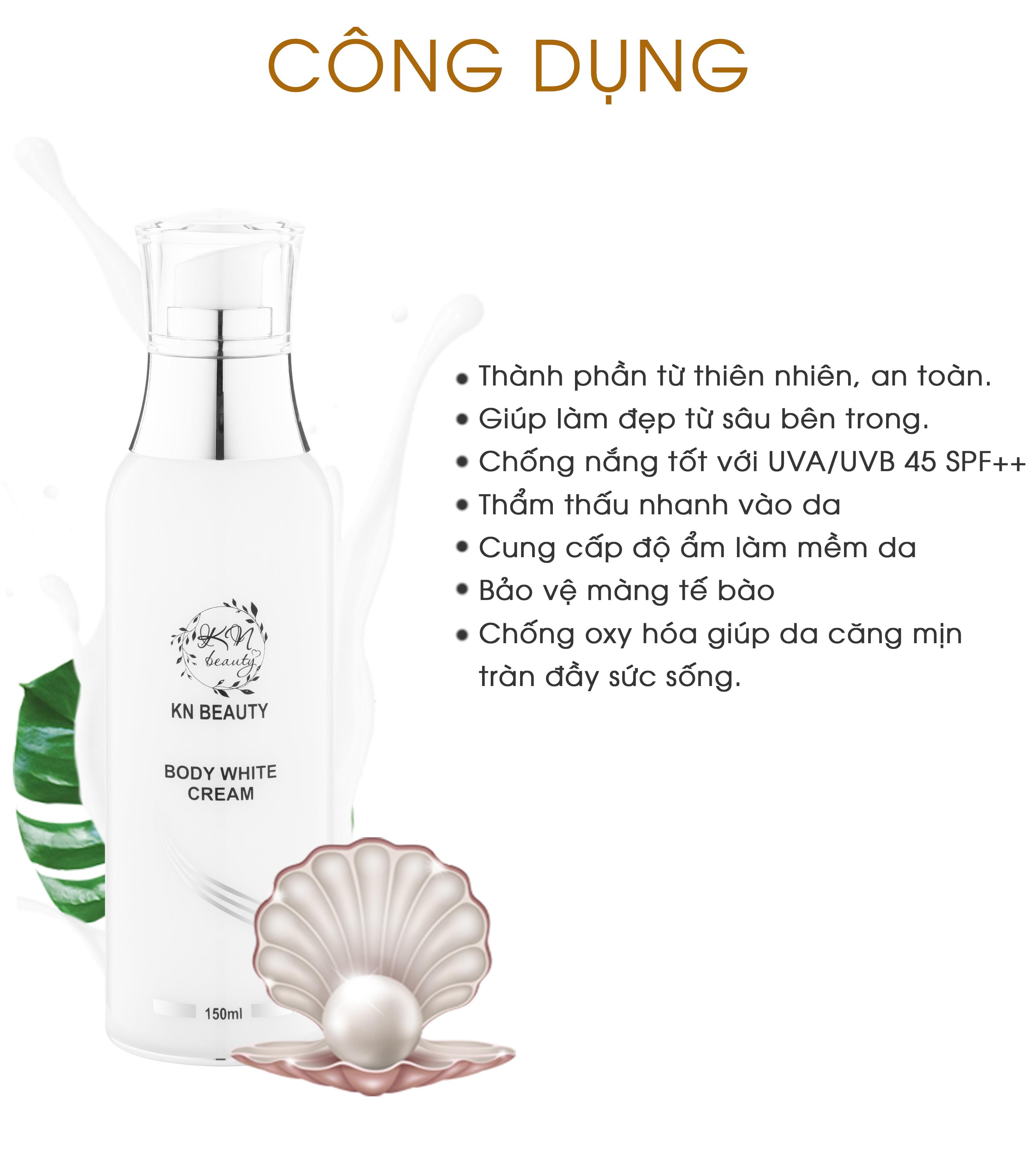 Bộ 2 sản phẩm dưỡng trắng toàn thân KN Beauty: Kem Dưỡng Trắng Toàn Thân Tinh Chất Ngọc Trai + Kem Ủ Trắng Da Toàn Thân