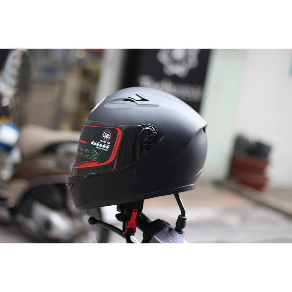 Nón Fullface đen nhám siếu chất kèm sừng gắn nón + Tặng túi rút và khăn Ninja _ Mũ Bảo Hiểm Fullface AGU 138