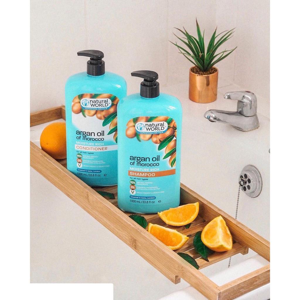 Dầu xả dưỡng tóc mềm mượt, phục hồi tóc hư tổn Argan oil of Morrocco Natural World 1000mL