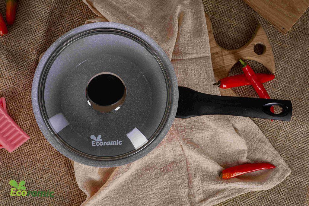 Quánh chống dính vân đá đế từ ECORAMIC Chính Hãng 100%, Thương hiệu Hàn Quốc – Chất lượng Hàn Quốc (Size 18cm)