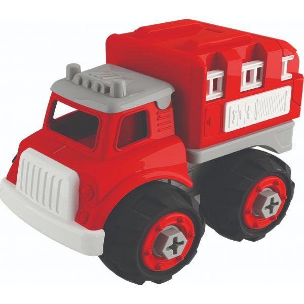 Đồ chơi lắp ráp DIY VECTO Xe cứu hoả chở thang màu đỏ VT1063