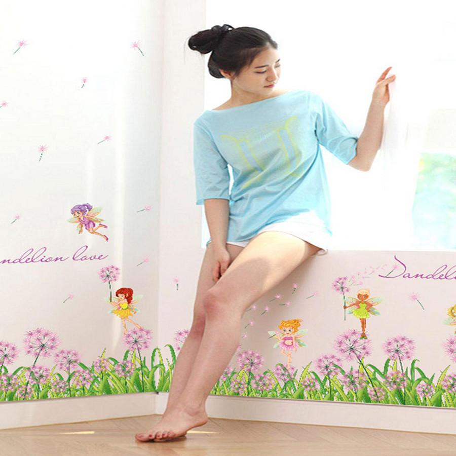 Decal dán tường chân rào hoa bồ công anh tím đẹp