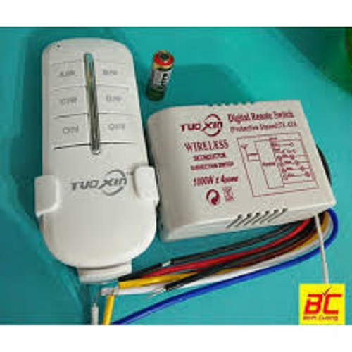 Bộ công tắc điều khiển từ xa 3 kênh 1000W, Remote phát sóng 10 - 50m Tuoxin TX03