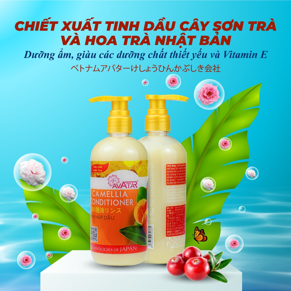 Kem hấp dầu Avatar tinh chất Sơn Trà Camellia 500ml-Kích thích mọc tóc nuôi dưỡng mái tóc bồng bềnh