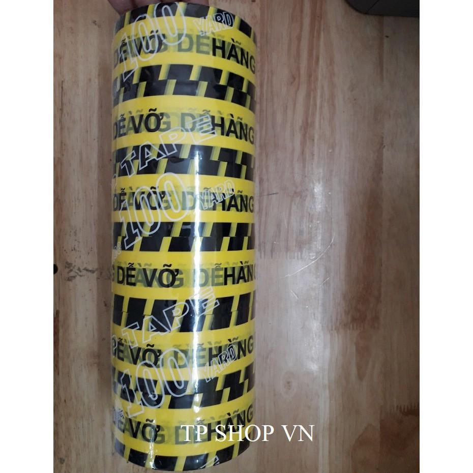 Băng keo 100YA in chữ HÀNG DỄ VỠ siêu tiết kiệm siêu dính chắc chắn, dẻo dai, bám dính tốt (6 cuộn/cây)