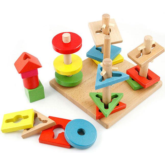 Đồ Chơi Gỗ Montessori - Bộ Xếp Hình 4 Trụ Cột Bằng Gỗ Cho Bé