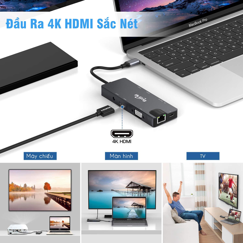 Cổng Chuyển HyperDrive Hub USB Type C 9 Cổng Ikling Ethernet SD Mircro SD VGA UHD HDMI Audio USB3.0 Cho Macbook SamSung - Hàng chính hãng