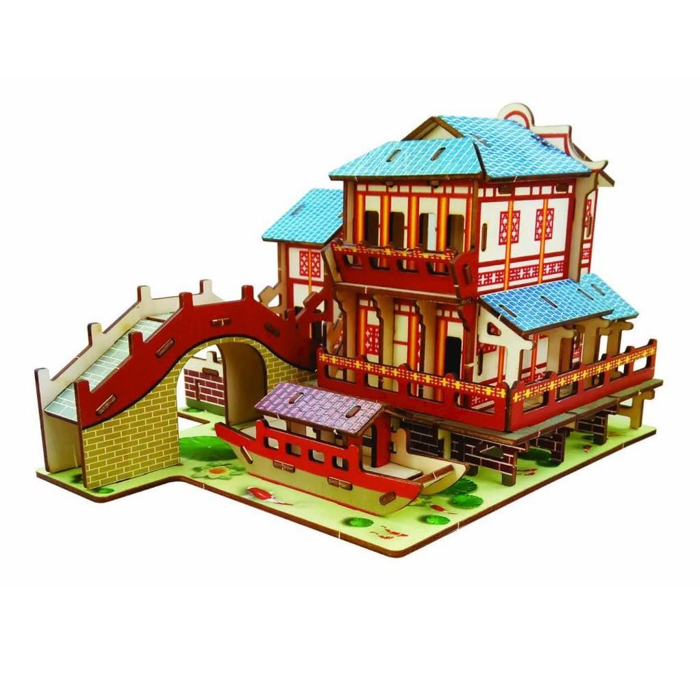 Đồ chơi lắp ráp gỗ 3D Mô hình Nhà cổ Laser BZQ-054