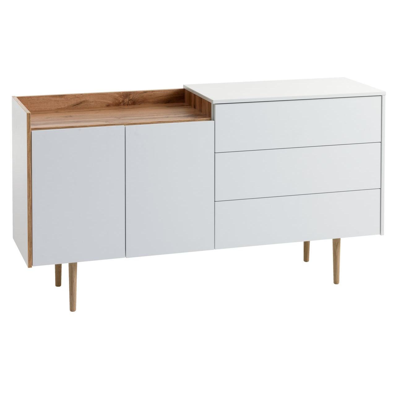Tủ chén đĩa JYSK Aarup gỗ công nghiệp trắng/sồi R148xS41xC81cm
