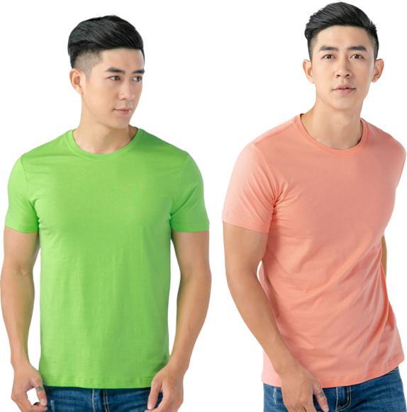 Áo Thun Nam Cổ Tròn Cotton Thoáng Mát MGH224 - Xanh - Hồng - L - S
