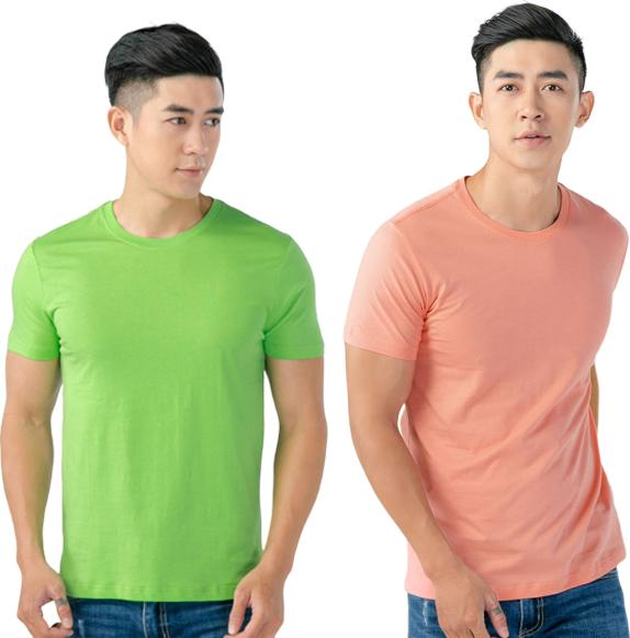 Áo Thun Nam Cổ Tròn Cotton Thoáng Mát MGH224 - Xanh - Hồng - S - M