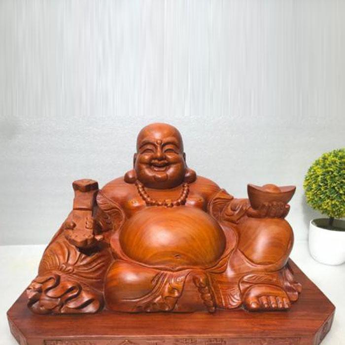 Tượng Phật Di Lạc ngồi gỗ Hương ngang 40CM cao 25 hông 20