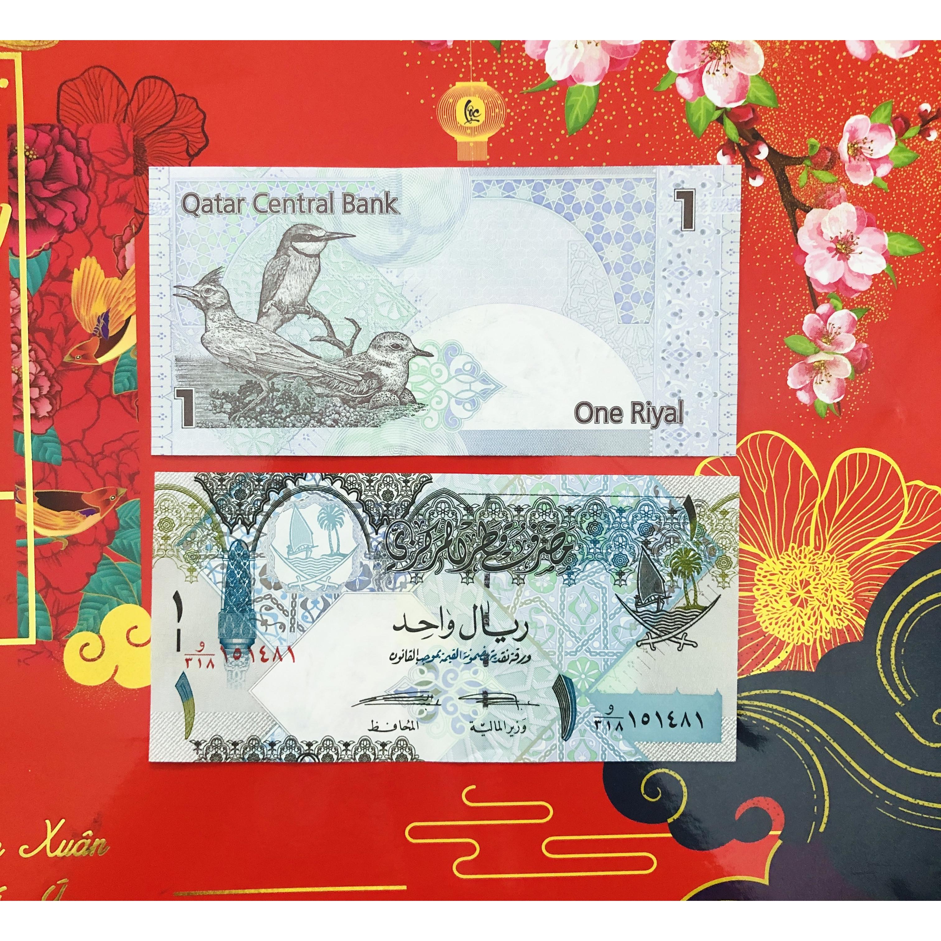 01 tờ tiền Qatar 1 Riyal hình chú chim tuyệt đẹp