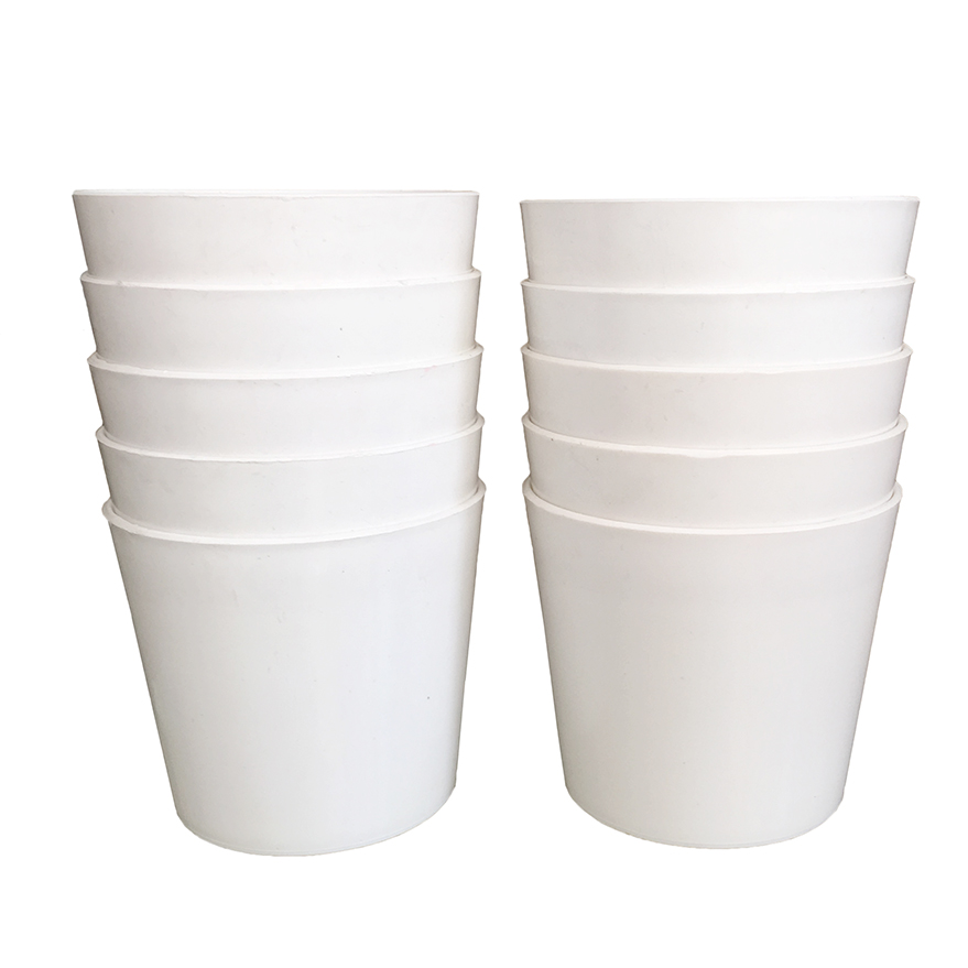 Bộ 10 chậu tròn trơn nhựa dày màu trắng 14x13x11cm