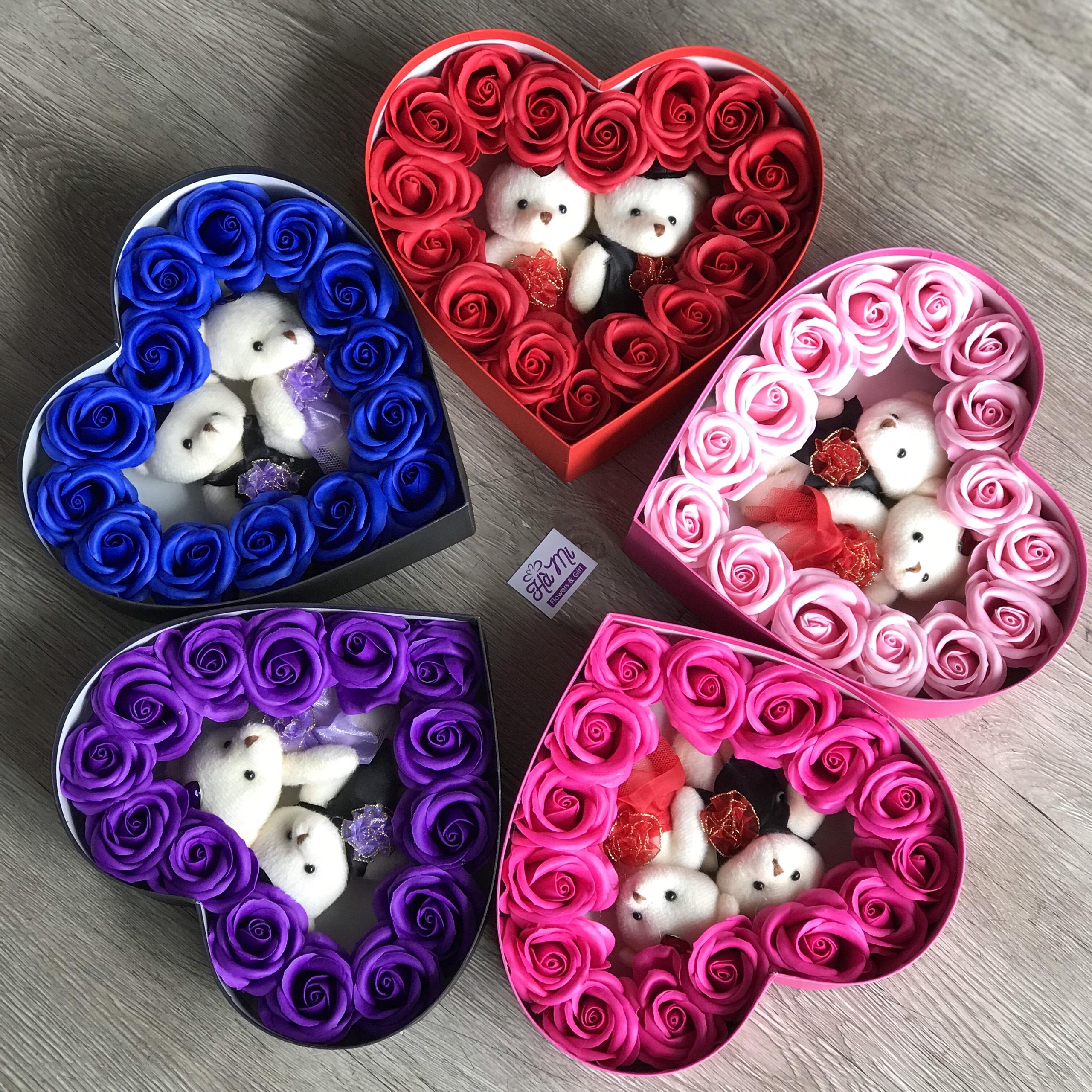 hộp tim hoa hồng sáp