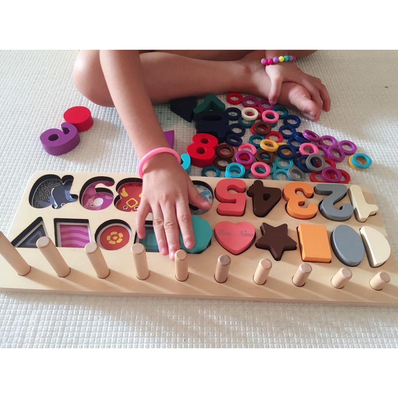 Đồ chơi kỹ năng - BỘ CỌC TOÁN-HÌNH KHỐI - RÈN KỸ NĂNG VẬN ĐỘNG TINH, NHẬN BIẾT SỐ, HÌNH KHỐI CHO BÉ