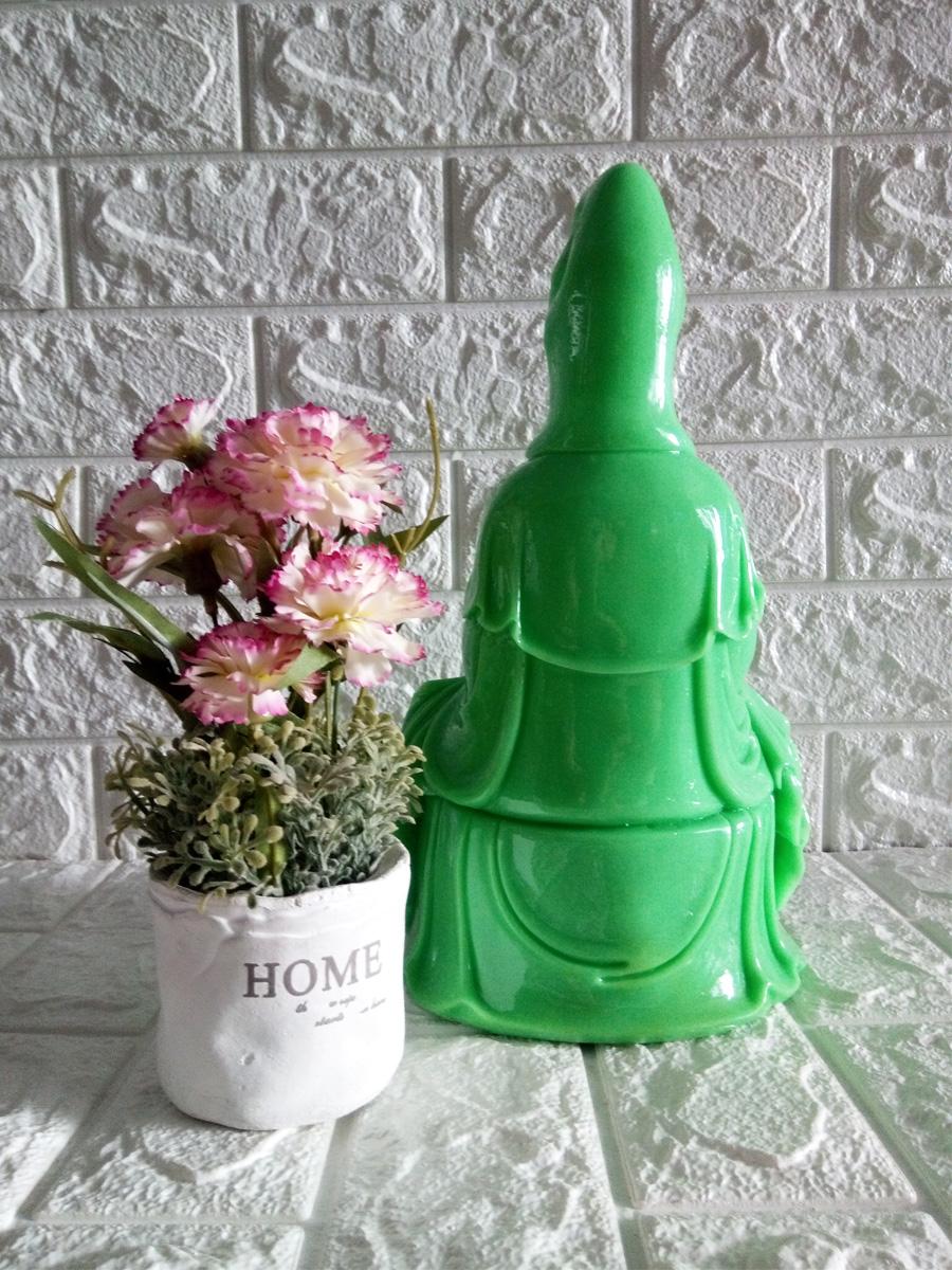 Tượng phật Bà Quan âm tọa đài sen đá poly xanh QADX30