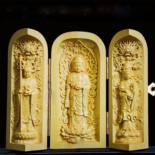 Tượng Tam Thế Phật Bằng Gỗ Me ( Cao 10,5 cm x Ngang 11 cmm ) - Phù Hộ Độ Trì