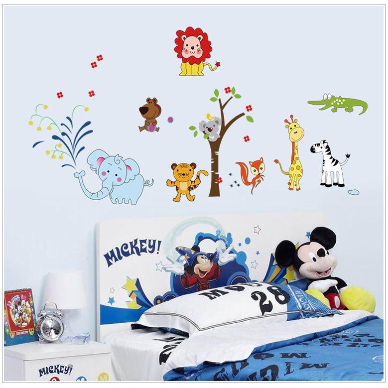 Decal dán tường động vật hoạt hình trang trí phòng cho bé yêu dễ thương, ngộ nghĩnh DB055 (75 x 120 cm)