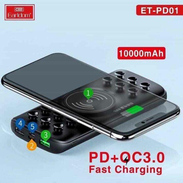 Sạc dự phòng không dây 10000mAh  Earldom PD-01 hỗ trợ sạc nhanh Quick Charge 3.0- Hàng chính hãng (TẶNG KÈM ĐẦU ĐỌC THẺ NHỚ CAO CẤP)