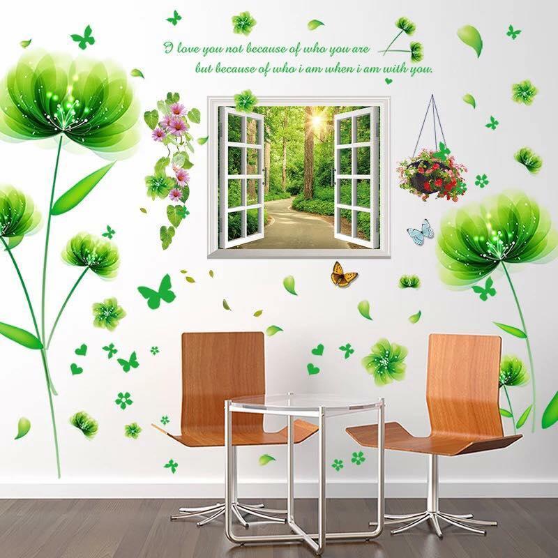 Decal dán tường Hoa cánh bướm xanh và cửa sổ - HP338
