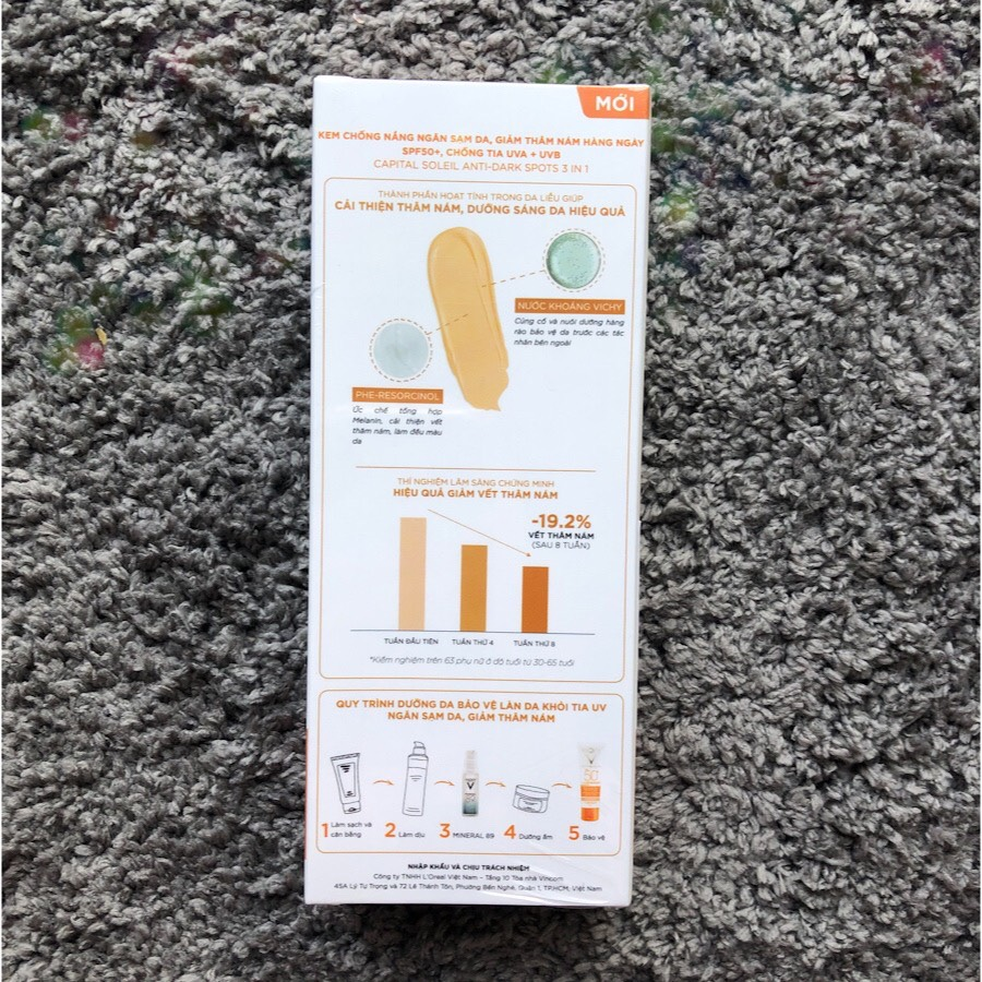 Kem Chống Nắng Ngăn Sạm Da, Giảm Thâm Nám Vichy Capital Soleil Anti-Dark Spots 3 in 1 + Mineral 89 10ml