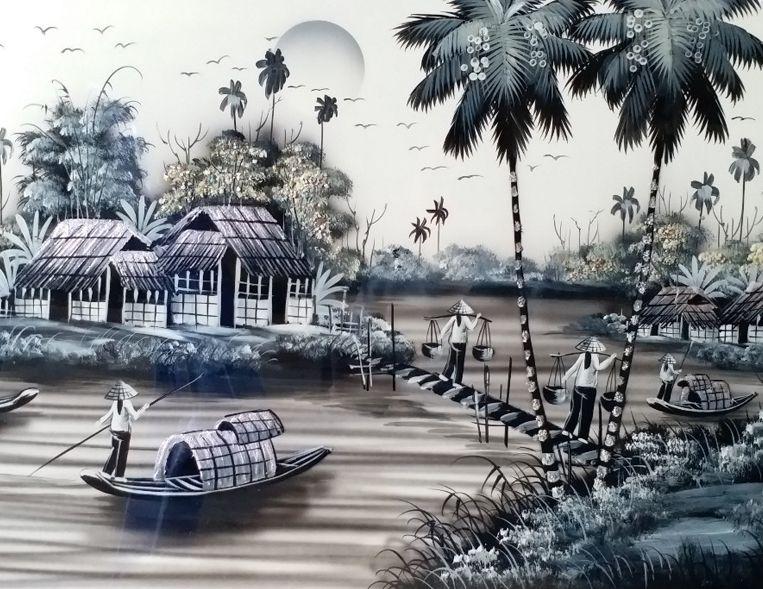 Tranh Sơn Mài Phong cảnh Đồng quê Khói Cao cấp MNV-SMMT01-4