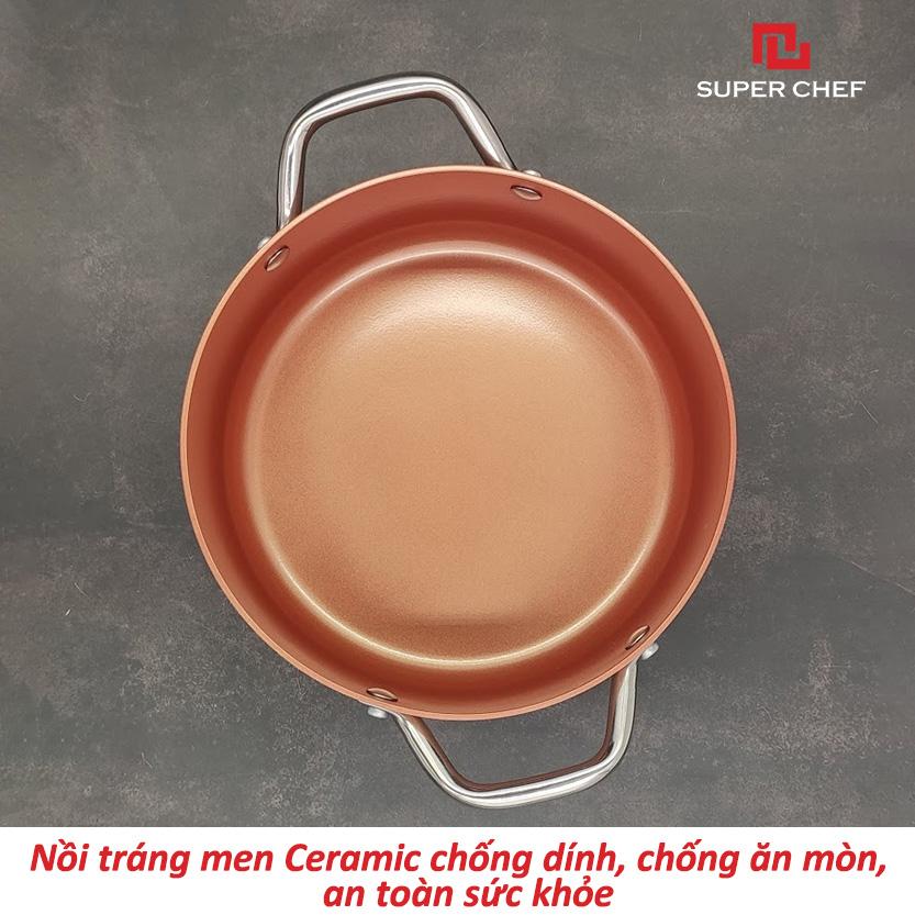 Bộ 3 Nồi Chống Dính Ceramic Super Chef Cao Cấp Kèm Theo Nắp Kính SIêu An Toàn, Không Bong Tróc Hạn Chế Trầy Xước Siêu Bền Bỉ, Nấu Nhanh Chín Đều Thơm Ngon ( 16-20-24cm)